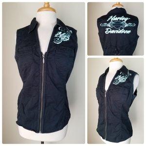Harley-Davidson Black Zip Up Vest Sleeveless